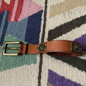 Linea Pelle Brass & Brown Leather Belt